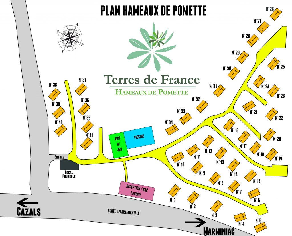 Discover the plan of the cottages of the residence of Pomette in the Lot